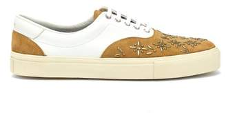 Amiri Studded Leather And Suede Trainers - Mens - Beige White