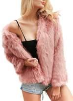 BerryGo Women's Chic Short Faux Rabbit Fur Coat Outerwear (,XL)
