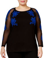 I.N.C International Concepts Plus Embroidered Illusion Top