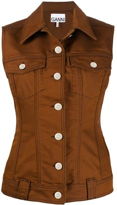 Ganni Buttoned-Up Fitted Vest