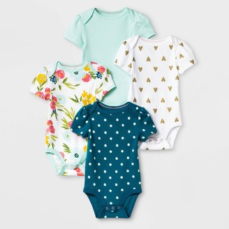 Baby Girls' 4pk Floral Fields Short Sleeve Bodysuit - Cloud IslandTM Green/White