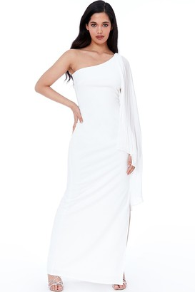 Goddiva Cream Asymmetric Chiffon Sleeve One Shoulder Maxi Dress