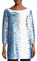Joan Vass 3/4-Sleeve Gradient Sequined Tunic, Petite