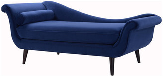 Sandy Wilson Home Kai Modern Velvet Chaise Lounge with Bolster Pillow, Navy Blue Velvet