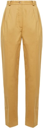 Nina Ricci Pleated Cotton-poplin Tapered Pants