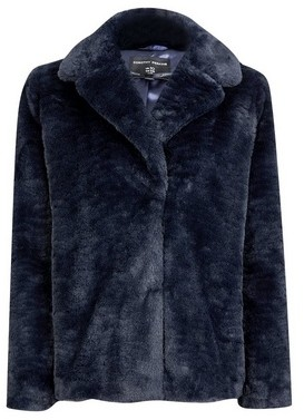 Dorothy Perkins Womens Navy Short Textured Faux Fur Coat