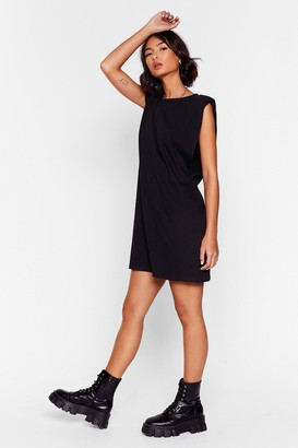 Nasty Gal Womens Chip On Your Shoulder Jersey Mini Dress - Black - 6