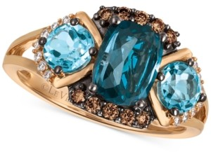 LeVian Chocolatier Blue Topaz (2-5/8 ct. t.w.) and Diamond (1/5 ct. t.w.) Ring in 14k Rose Gold, Created for Macy's