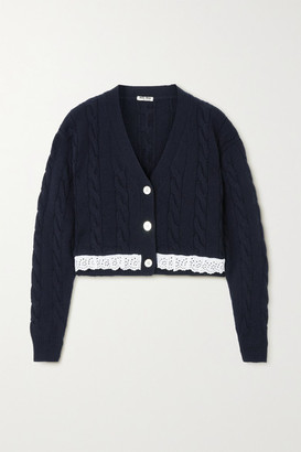 Miu Miu Cropped Broderie Anglaise-trimmed Cable-knit Cashmere Cardigan - Blue