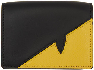 Fendi Black and Yellow Corner Bugs Wallet