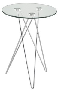 Euro Style Zoey Round Side Table in Tempered Glass with Chrome Base