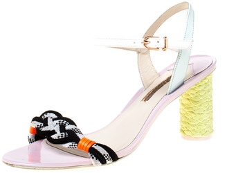 Sophia Webster Multicolor Fabric and Leather Atlanta Braided Ankle Strap Sandals Size 40.5