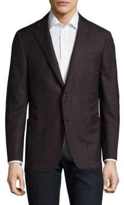Hickey Freeman Burgundy Wool Blazer