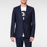 Paul Smith Men's Mid-Fit Navy Subtle-Check Wool Blazer