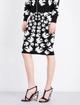 Alexander McQueen Swallow knitted woven skirt
