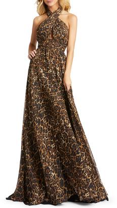 Mac Duggal Cheetah Print Wrap Halter Gown