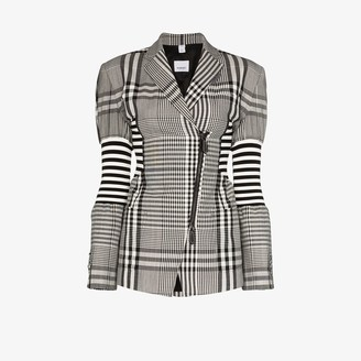 Burberry Striped Checked Fitted Blazer