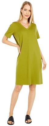 Eileen Fisher Organic Cotton Stretch Jersey V-Neck Short Sleeve Dress (Mustard Green) Women's Dress