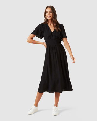 French Connection Ruffle Midi Dress