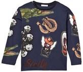 Dolce & Gabbana Blue Western Icons Print Long Sleeve Tee
