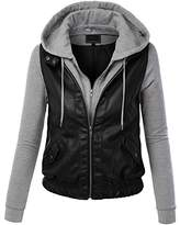 CTC Womens Faux Leather Zip Up Moto Jacket with Hoodie