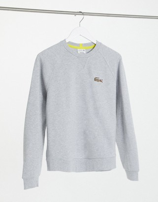 Lacoste x National Geographic Printed Croc Logo Sweat in silver
