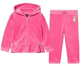 Juicy Couture Hot Pink Glitter Scotty Dog Ruffle Velour Tracksuit