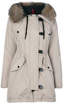 Moncler faux fur trim hooded jacket - women - Cotton/Polyamide/Polyester - 0