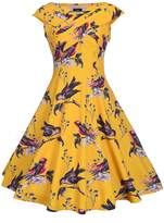Ruiyige Women's Bird Print Sleeveless V-Neck Evening Party Swing Tea Dress