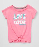 Reebok Azalea Pink 'Live Love Dance' Tie-Waist Tee - Girls