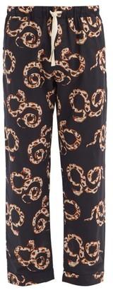 Desmond & Dempsey The Kaa Snake-print Cotton Pyjama Trousers - Navy Multi