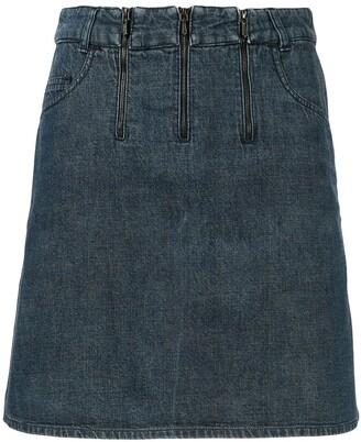 Chanel Pre Owned Triple-Zipper Straight Denim Skirt