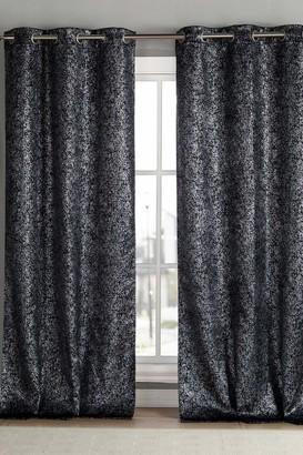 """Duck River Textile Maddie Blackout Grommet Curtains 96"""" - Set of 2 - Black"""