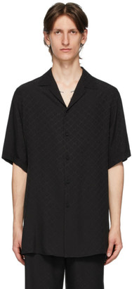 Gucci Black Silk Crepe De Chine GG Shirt