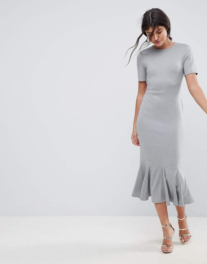 Asos Design Midi Dress With Godet Pep Hem
