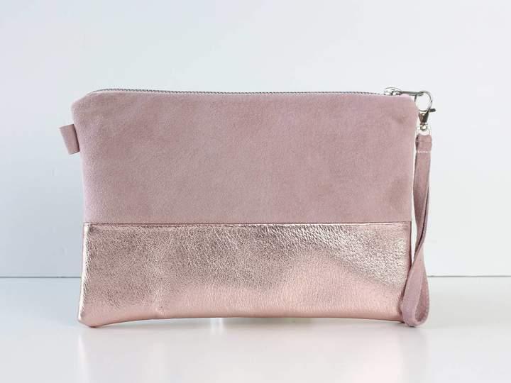 460edba955e6 Suede&Co Two Tone Leather Clutch Bag