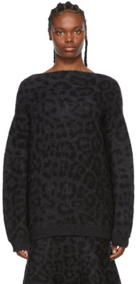 Valentino Black and Grey Mohair Leopard Sweater