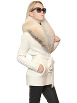Roberto Cavalli Fox Collar Wool Cashmere Knit Cardigan