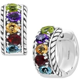 Effy Multi-Gemstone Small Huggie Hoop Earrings (1-7/8 ct. t.w.) in Sterling Silver