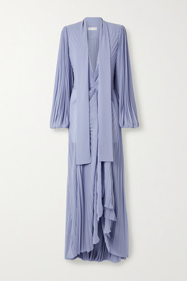 TRE by Natalie Ratabesi Olimpo Pussy-bow Draped Pleated Chiffon Gown - Lilac