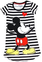 Disney Classic Mickey Mouse Dorm T Shirt - Front and Back Print- & White Stripes