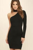 LuLu*s All I Half Black One Shoulder Dress
