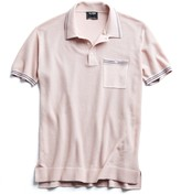 Todd Snyder Tipped Cotton Silk Micro Mesh Tipped Polo in Pink