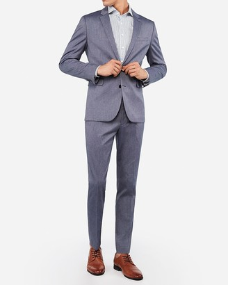 Express Extra Slim Blue Cotton Texture Stretch Suit Jacket