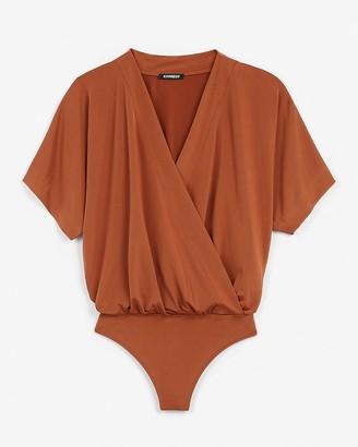 Express Wrap Front V-Neck Thong Bodysuit
