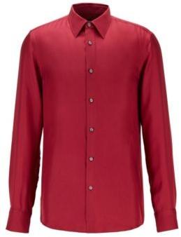 HUGO BOSS Slim Fit Shirt In Italian Silk Twill - Dark Red