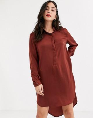 JDY Tara long sleeve hi lo shirt dress-Brown