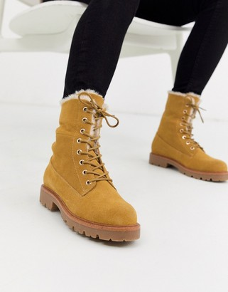 Asos DESIGN Atlantis suede fur lace up hiker ankle boot in sand