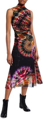 Fuzzi Chakra Print Turtleneck Sleeveless Midi Dress