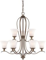 Quoizel Sophia 9-Light Chandelier in Palladian Bronze with Opal Etched Glass
